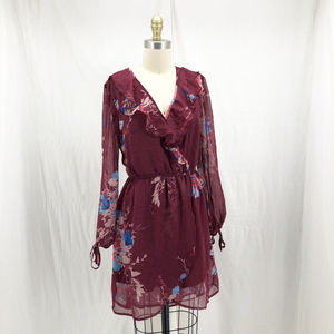 BAND OF GYPSIES Bouquet Floral Wrap Mini Dress
